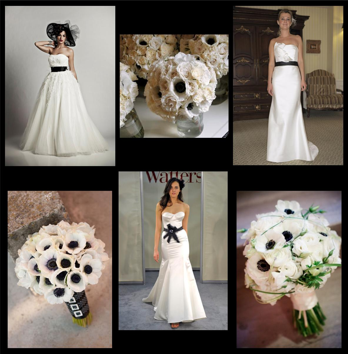 Black And White Anemone Bridal Bouquets Stardust Celebrations