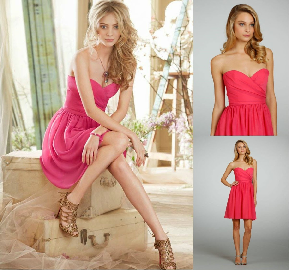 Jim Hjelm Occasions 5325 Is A Fantastically Flirty Short Bridesmaid Dress Crinkle Chiffon Strapless Line Style With Crisscross Pleated Sweetheart