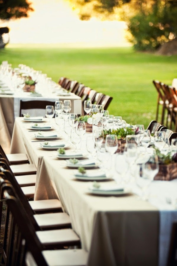 Banquet Reception Tables Waiting For Guests And Family Style Food There Is Not A Need Extravagant Centerpieces As The Will Be Focal Point