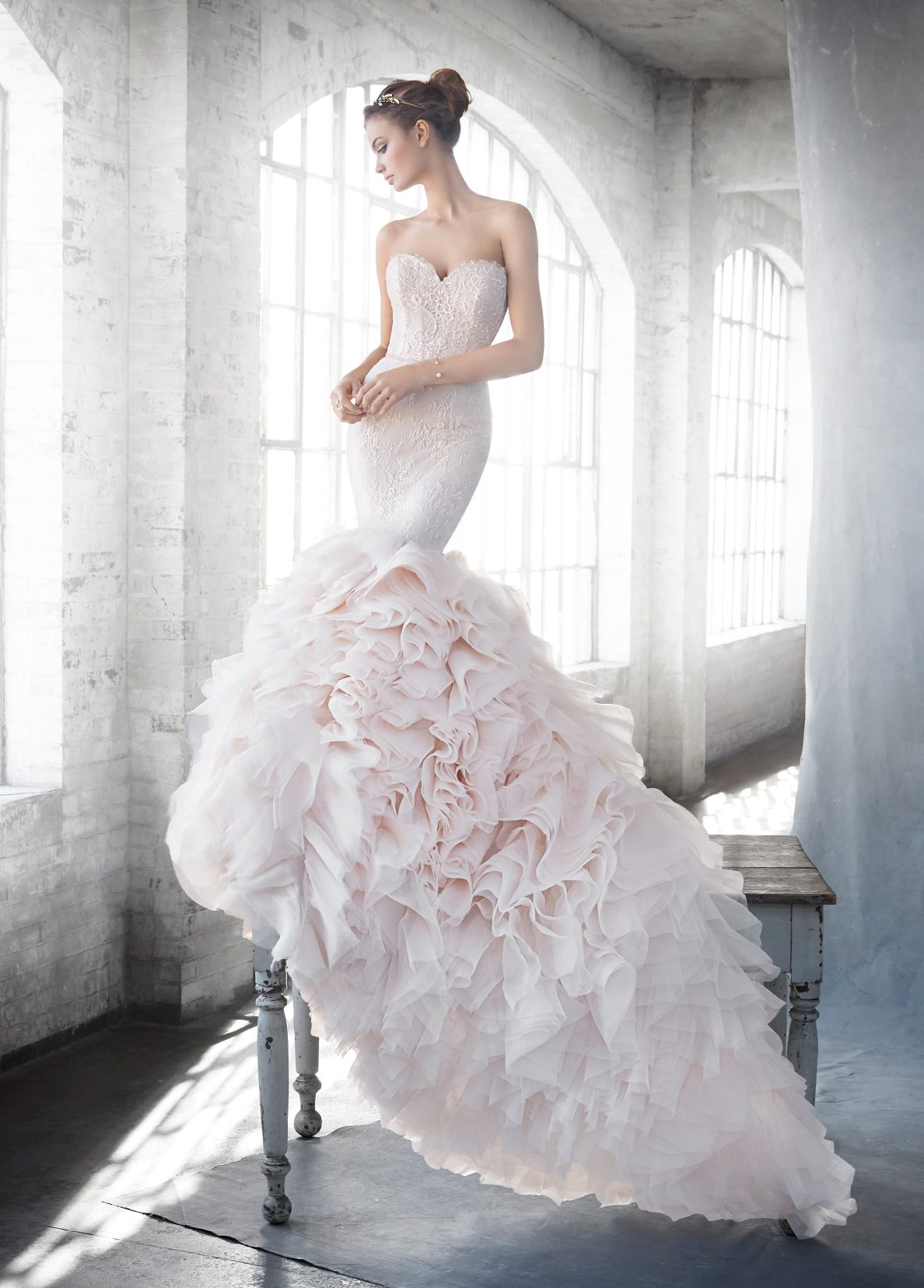 Custom Wedding Dress S Dallas Tx : Lazaro bridal fit flare gown strapless sweetheart beaded lace
