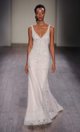 Lazaro bridal gown available at StarDust Celebrations, a bridal store in Dallas